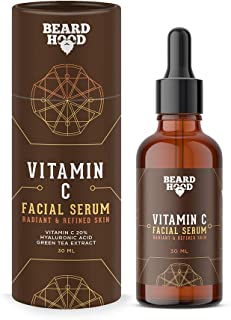 Beardhood Vitamin C Serum for Face with Vitmain C 20%, Hyaluronic Acid and Green Tea Extract, 30 ml
