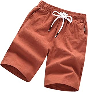 omniscient Men's Cotton Linen Casual Lightweight Elastic Waist Shorts Drawstring Short