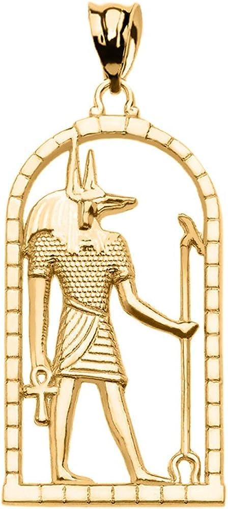 10k Yellow Gold Egyptian Anubis Pendant Necklace