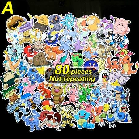 WXX QQBH 80pieces / Lot 160 Tipos de aminas de Dibujos Animados Pegatinas for el Ordenador portátil pokemonal decoración de la Pared Nevera Coche de la Bici Pegatinas Figura Juguetes Impermeable