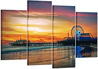 Kreative Arts 4 Panel Los Angeles Wall Art Fun Fair at Santa Monica Pier Canvas Print California Home Decor Artwork Gallery Wrapped Wood Stretched and Ready to Hang L47xH32inch