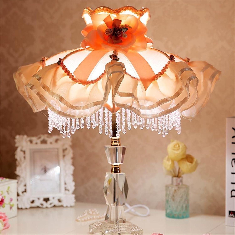 Shopping-Im europäischen Stil Garten-Stil Schlafzimmer Nachttischlampe Stoff-Leuchte Rosa Spitzen Luxus B01LW5S98W       Umweltfreundlich