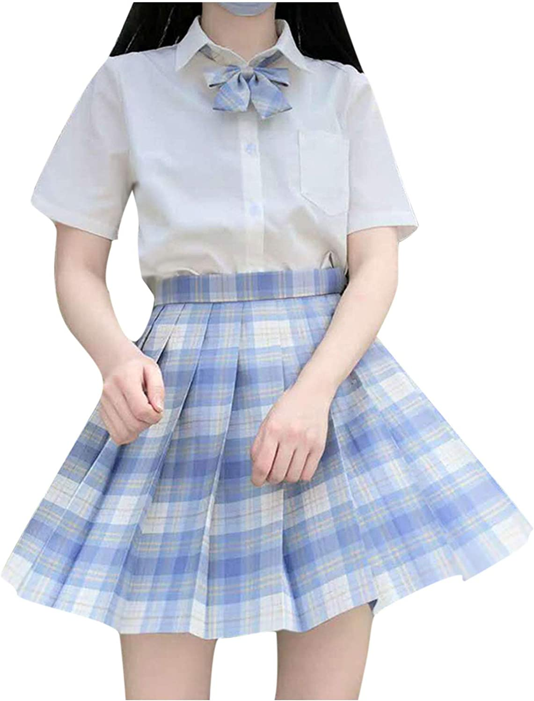 WOYAOFA Women's Plaid Pleated Stretchy Skater Ruffle Casual Uniform A-Line High Waist Short Tennis Skirt