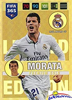 Alvaro Morata Real Madrid CF 2017 Panini Adrenalyn XL FIFA 365 EXCLUSIVE PREMIUM GOLD Limited Edition Card! Awesome Special Card Imported from Europe! Shipped in Ultra Pro Top Loader ! WOWZZER!
