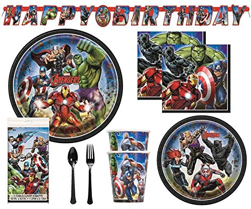 Avengers Birthday Decorations And Tableware Plates Napkins Cups Table Cover Banner Premium Plastic Cutlery Serves 16