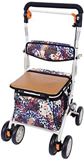 Djyyh Foldable Shopping Trolley, Grocery Cart, Strong & Stable Mobility Aid, Height & Angle Adjustable Handle,6 Wheels, Easy to Push, Ladies, Mens & Unisex Designs - Bearing 100 Kg