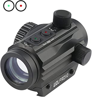 Wolfroad 1x22mm Red Green Dot Sight,Reflex Tactical Rifle Scope Wide Field of View for Hunting w/Aircraft Grade Aluminum Alloy Tube Red/Green Reticle with Circle Dot Micro Rifle Scope