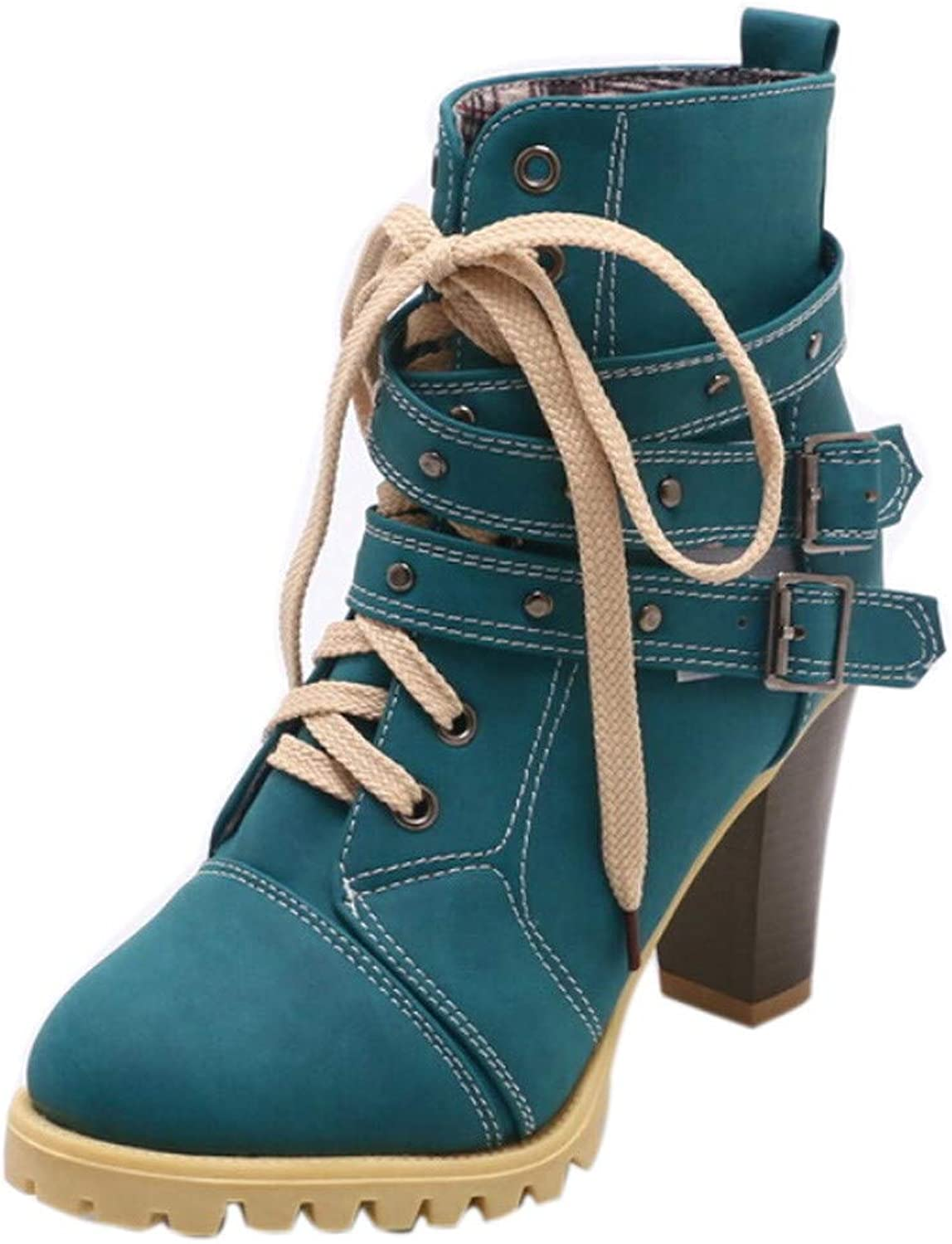 Anxinke Women Retro Lace-up High Heels Buckle Strap High Block Heel Ankle Boots