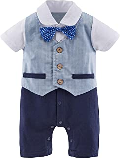 ARAUS Gentleman Suit Infant b/éb/é gar/çon Chemise /à Manches Longues avec n/œud Papillon 9-12 Mois Bleu Lot de 3/pour 3 Jarretelles Ensemble Pantalon 36/m