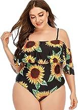 Mingsheng Eendelig Badpak, Vrouwen Plus Size Eendelig Badpak Sexy Off Shoulder Tummy Control Monokini Zonnebloem Print Flo...