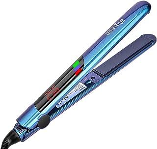 آهن صاف برای مو، موهای صاف با صفحه نمایش دیجیتال و ولتاژ دوگانه، 10 درجه حرارت فوری، 11 تنظیم دما قابل تنظیم، 2 در 1 سرامیک تورمالین آهن برای یک ظاهر طراحی شده مو، خودکار خاموش، 1 اینچ