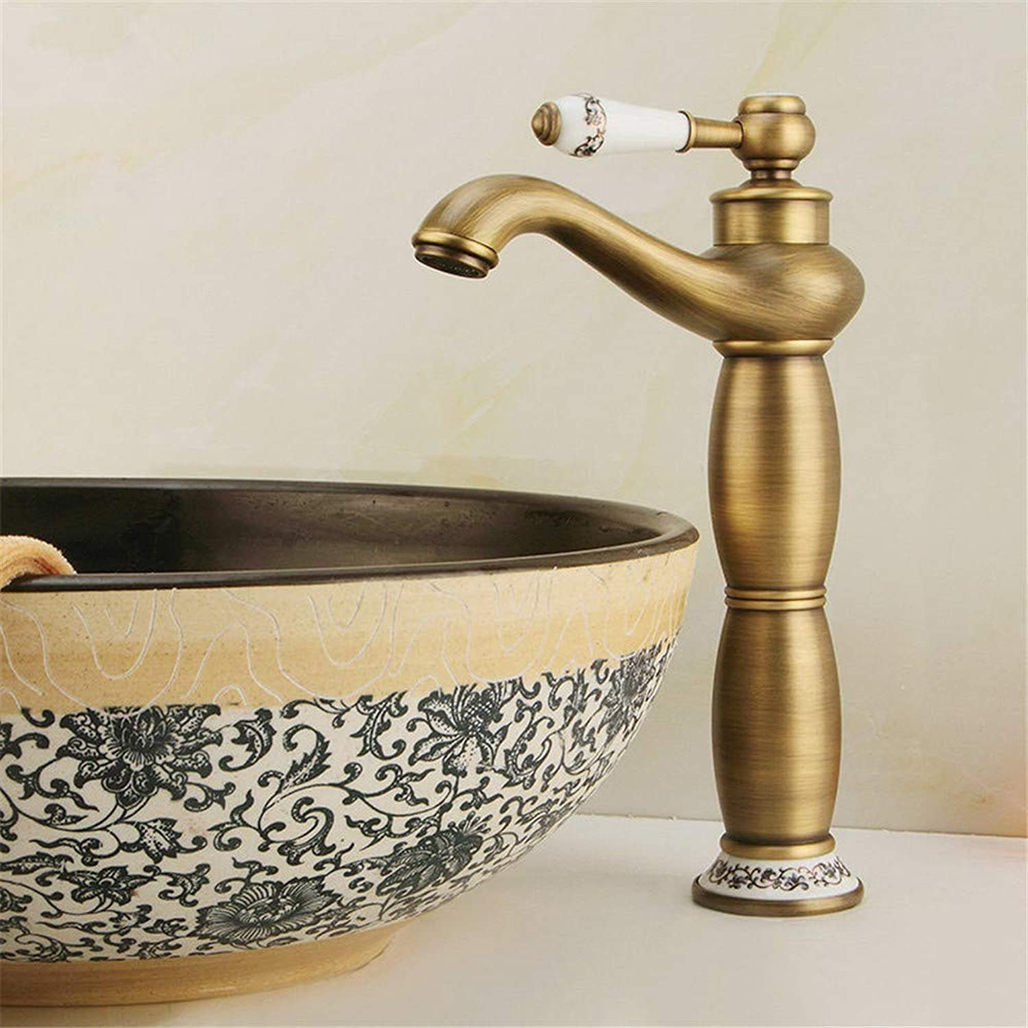 YAWEDA Ancient All-Bronze Basin Faucet bluee and White Porcelain Cold and Hot Water Mixer Single-Hole Bathroom Sink Faucet Ceramic Single-Handled Belt Aerator