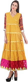 Devaleena Creations Women's Cotton Suit(DC-0001-Yellw-Ank-Krta_Yellow_XLARGE)