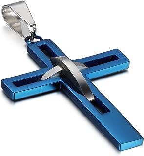 Stainless Steel Mens High Hollow Openwork Cross Pendant Necklace for Men Women Teens,Hypoallergenic,Silver,Gold,Black