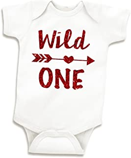 Wild One Baby Girl First Birthday Outfit, One Year Old Girl (Glitter Red, 12-18 Months)