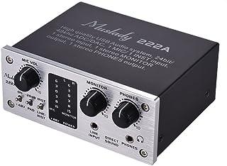 Muslady 2 canales Sistema de audio USB Interfaz Tarjeta de sonido externa + Potencia fantasma de 48V Fuente de alimentación DC 5V para computadora Smartphone Con cable USB