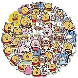 YMSD 100pcs Cute Cartoon Winnie The Pooh Stickers Luggage Laptop Creative Emoji Stickers Waterproof Removable Stickers
