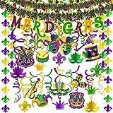 32 Pcs Mardi Gras Party Swirls Hanging Foil Swirl Streamers with Foil Fleur De Lis Strings Mardi Gras Banner Tinsel Garland for Mardi Gras New Orleans Bachelorette Birthday Ceiling Backdrop Decoration