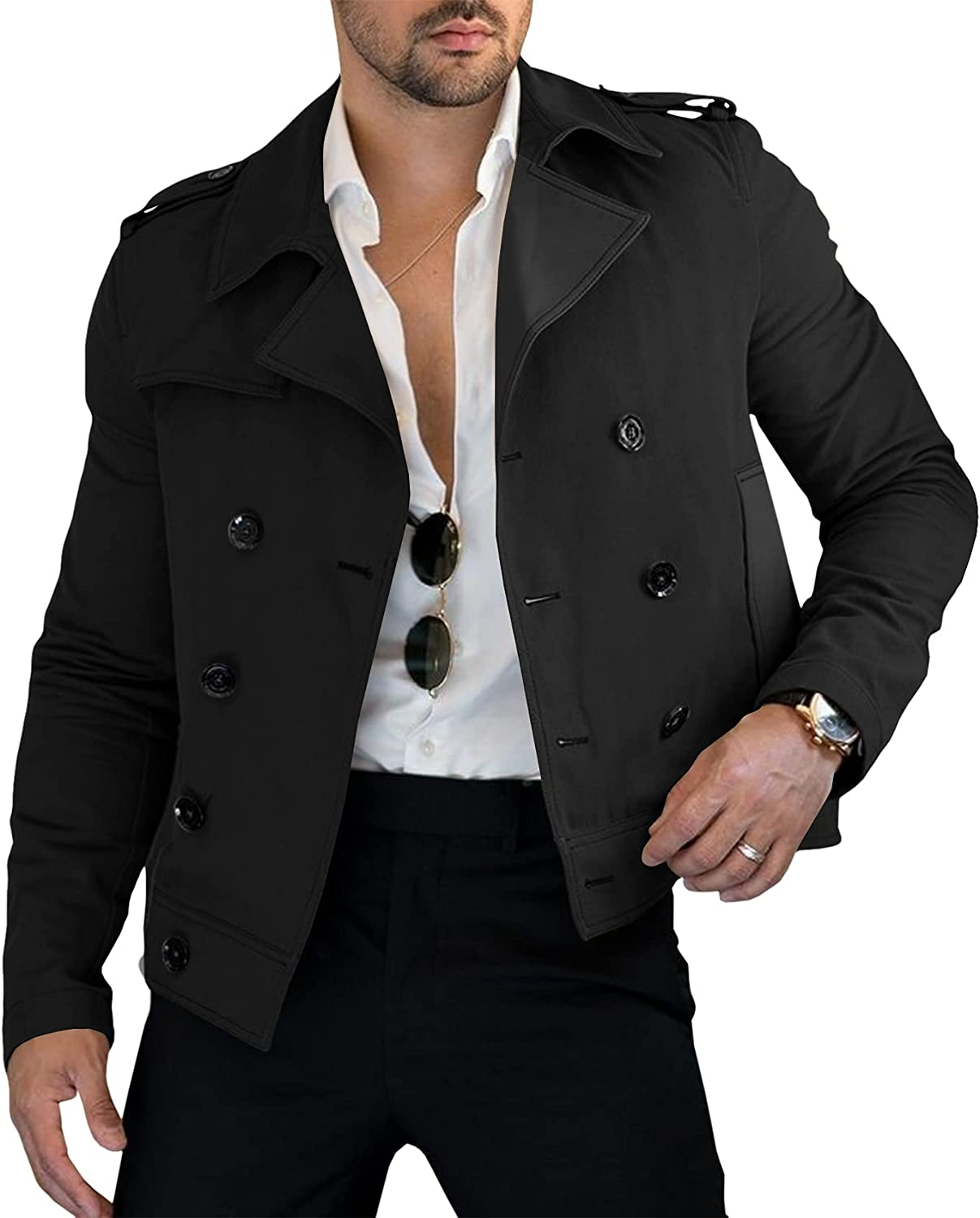 Lakimani Mens Double Breasted Jacket Slim Fit Cotton Lightweight Lapel Collar Short Trench Coat