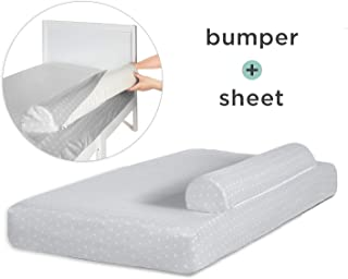 Milliard Bed Bumper (with Attached Sheet) for Toddler Bed, Foam Safety Rail Guard with Washable Sheet; Bed Rail for Toddlers and Kids (Bumper with Sheet)
