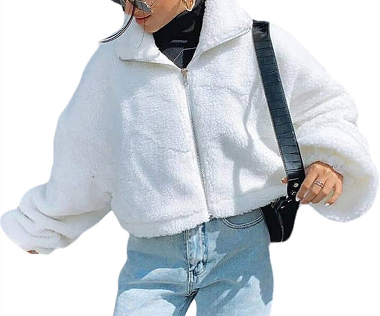 XRjxyushan Women Casual Long-Sleeved Coat Fashion Solid Color Lamb Wool Zipper Open Short Style Winter Cozy Warm Jacket