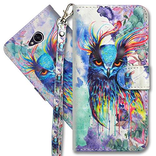 MRSTER LG Xpower 2 Handytasche, Leder Schutzhülle Brieftasche Hülle Flip Hülle 3D Muster Cover mit Kartenfach Magnet Tasche Handyhüllen für LG X Power 2. YX 3D - Colorful Owl
