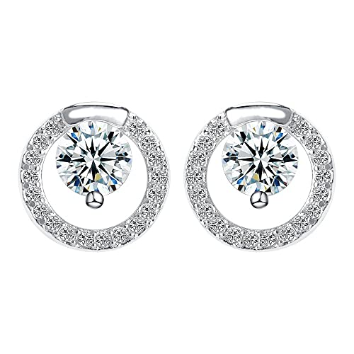 a3fae798a688 White Gold Studs made with Crystal Round Stud Earrings for Women Girls