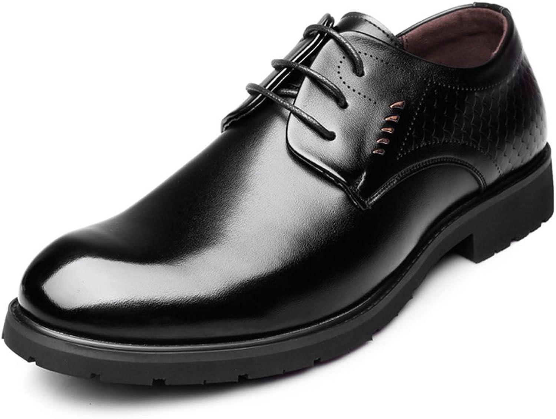 HYF Herren echtes Leder Business Oxfords Lace Up Fischschuppen Dekor Formale Schuhe Driving Schuhe