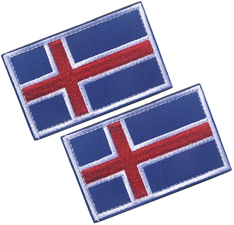 HFDA 2 Piece Different Country Flags Patch - Tactical Combat Military Hook and Loop Badge Embroidered Morale Patch (Iceland)