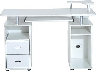 comprar comparacion HOMCOM Mesa de Ordenador PC Escritorio de Oficina para Hogar Oficina Estudio Madera 120x55x85cm Blanco