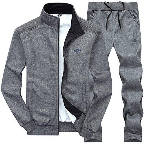 Gopune Mens Athletic Full Zip Fleece Tracksuit Jogging Sweatsuit Activewear (Deep grey3,L)