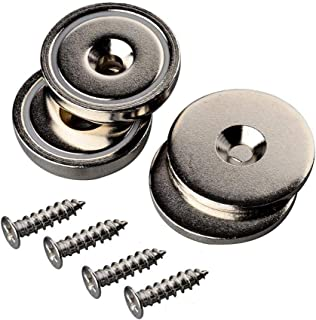 Mutuactor Neodymium Countersunk Magnets 4Pack with Hole, 92 lb Heavy Duty Strong Round Disc Magnets,Rare Earth Cup Magnetic Base for Door Latch Wall Mount Tool Holder Home Kitchen Store Room Workplace