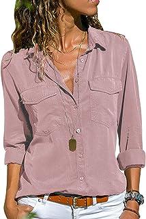 2383c22273 Camicia Chiffon Donna Camicette Oversize Camicie Manica Lunga Scollo V  Blusa Cerimonia Signora Eleganti Camicetta Bluse
