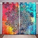 Cortinas bohemias para ventana con diseño de mandala, para niños, niñas, adolescentes, adultos, cielo estrellado, cortinas tribales hippie con ojales, color azul, 166 x 90 pulgadas