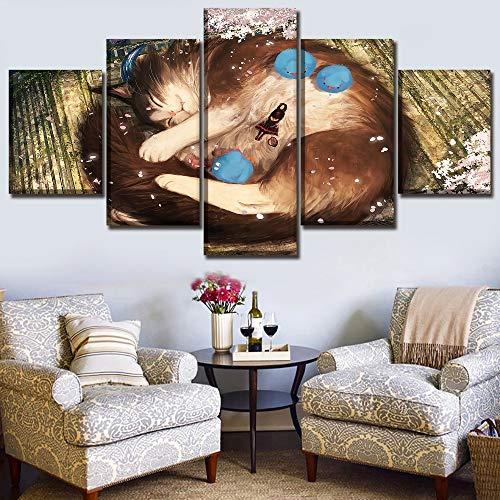 Schilderij Woondecoratie Muurkunst HD Print Foto 5-delig Dier Vogel en kat en meisje Slapen Canvas Poster voor Roo