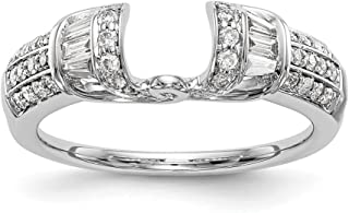1/2 CT 14k White Gold Round & Baguette Diamond Engagement Ring Wrap. 0.502 ctw.