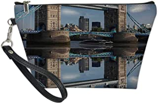 London Useful Cosmetic Bag,Tower Bridge With City Cruise in Summer Day Mirroring on Tranquil Thames River for Travel,for Women Makeup Bags Pouch Purse Handbag Organizer