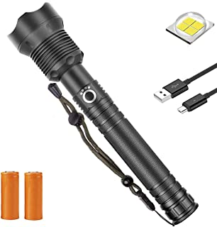 Rechargeable Tactical Flashlight, 90000 Lumens Water Resistant Camping Flashlight,Super Bright Portable Outdoor Torch Light Zoomable Flashlight with Power Display BLACK