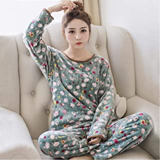 WEDFGX Pijamas de Franela cálidos de Manga Larga de Invierno, Conjunto de Pijamas de Mujer, Pijamas Gruesos de impresión, Pijamas de Talla Grande, Pijamas, Pijamas