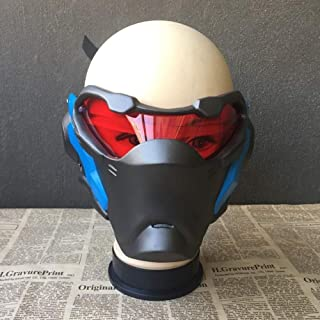 Wsjdmm Novelty Overwatch Cos Soldier: 76 Game Mask Glowing Mask Motorcycle Mask Soft Glass Steel Mask Movie Props Birthday Present Halloween Ball Props