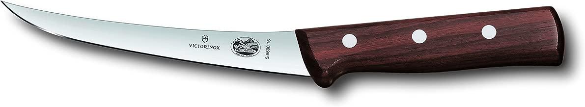Victorinox Swiss Army Cutlery Rosewood Curved Boning Knife, Semi-Stiff Blade, 6-Inch