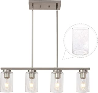 TODOLUZ Nickel Kitchen Pendant Lighting with 4 Seedy Glass Shades Ding Room Kitchen Ceiling Light Fixture