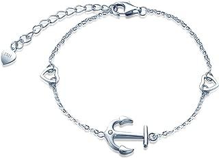 Women 925 Sterling Silver Bracelet Anchor Design Cubic Zirconia Adjustable Bracelet Jewelry