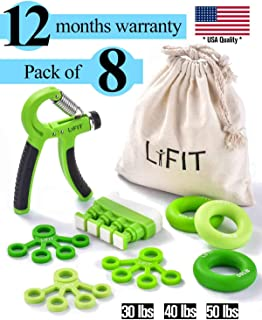 Hand Grip Strengthener 8-Pack Workout Kit, Adjustable Resistance Hand Exerciser, Wrist Strengthener, Finger Stretcher, Forearm Grip Ring, Improve Dexterity, Speed Up Recovery, Relive Stress & Anxiety