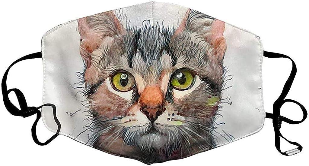 Carolui Katze Hund Motiv Mundschutz Waschbare Lustig 3D Stoff Mundschutz Halstuch Mehrweg Atmungsaktive Multifunktionstuch Mund und Nasenschutz