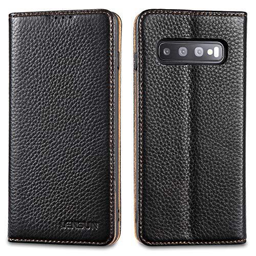 LENSUN Echtleder Hülle für Samsung Galaxy S10, Leder Handyhülle Magnetverschluss Kartenfach Handytasche kompatibel mit…