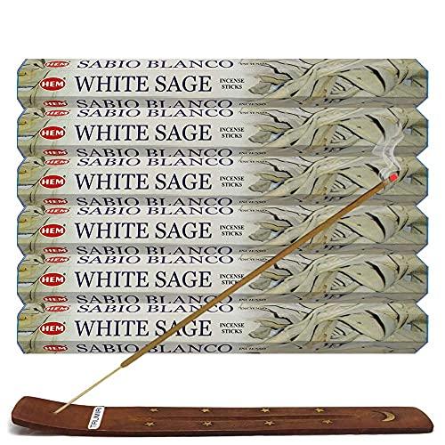 Trumiri Incense Stick Holder Bundle with Hem White Sage 20g Incense Sticks - Pack of 6 (approx 120...