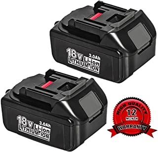 2Pack 3000mAh BL1830 18V Battery for Makita Lithium ion Replacement BL1830B BL1850B BL1860B BL1840 BL1845 BL1820 LXT400 194204-5 Cordless Power Tools