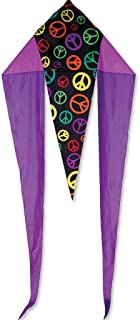 Premier 33029 45-Inch Flo-Tail Delta Kite with Fiberglass Frame, Peace Signs
