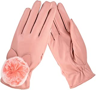 SGJFZD Women Winter Gloves Outdoor Waterproof Touch Screen Texting Driving Elegant Gloves Thermal Windbreak Gloves (Color : Pink, Size : OneSize)